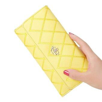 Harga leegoal New Style Women Lady Leather Clutch Wallet Long PU Card Holder Purse Long Wallet ( Yellow )