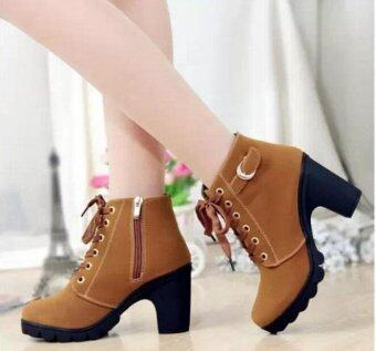 Harga Hanyu Autumn Winter Women Lady PU Leather High Heel Martin Ankle Zipper Boots Shoes Yellow - intl