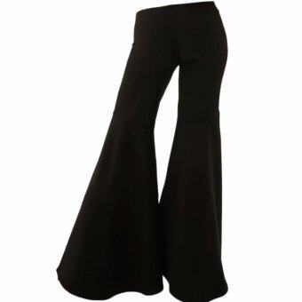 Harga Hequ Fashion Black Summer Bell-bottoms Pants Loose Asymmetry Casual Trousers Women's High Waist Wide Leg Long Bell Bottom Flared Pants Black - intl