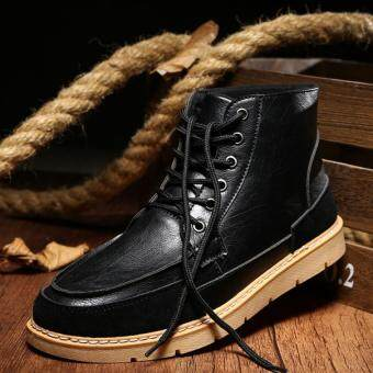 Harga AD NK FASHION Men's Fashion Genuine Leather Casual Boots Classic Boots (Black)JC357 - intl