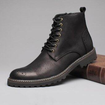 Harga Tauntte High Quality Cow Genuine Martin Boots Retro Brogues Carving Flower Boots European Formal Ankle Boots (Black) - intl