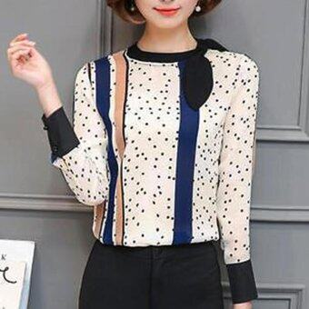 Harga Elegant Women Bow Tie Long Sleeve Printed Chiffon Blouse Career OL Shirt - intl
