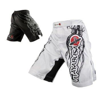 Harga White dragon sports breathable cotton loose boxing training pants mma short kickboxing shorts short muay thai (White) - intl