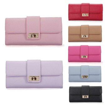 Harga Slaxry Women Bifold Long Leather Wallets Clutch Card Holder Lady Purse Handbag (Pink) - intl