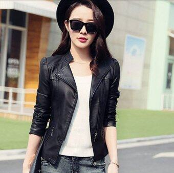 Harga Women Motorcycle PU Jacket Biker Coat Leather Jackets Short Outerwear Coat(Black) - intl