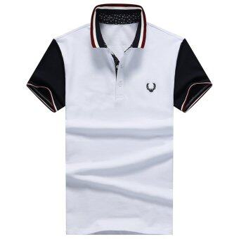 Harga Men's new fashion slim Short-Sleeved POLO shirt with Fred Perry logo (WHITE) - intl