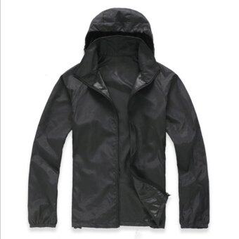 Harga New Design Men Outdoor Sports Windproof Quick-Drying UV-Protection Coat coats(black) - intl