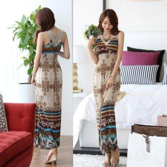 Harga Women Bohemia dress Hollow out back Silk Slim V collar dress flower dress Beach seaside holiday dress - intl