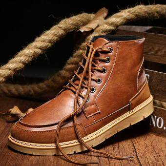 Harga AD NK FASHION Men's Fashion Genuine Leather Casual Boots Classic Boots (Brown)JC357 - intl