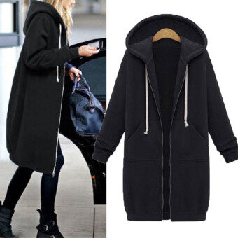 Harga New Arrival ZANZEA Winter Coats Jacket Women Long Hooded Sweatshirts Coat Casual Zipper Outerwear Hoodies Plus Size Black - intl