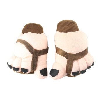 Harga Funny Winter Toe Big Feet Warm Plush Home Slippers For Men Women (Coffee)