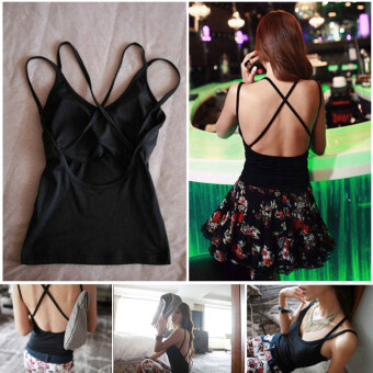 Harga Hely TOP Modal Padded Camisole Cross Straps Back Sleeveless Backless Tank Top Party Bar Shirt(Black)