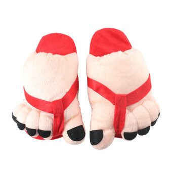 Harga Funny Winter Toe Big Feet Warm Plush Home Slippers For Men Women(Red) (Intl)