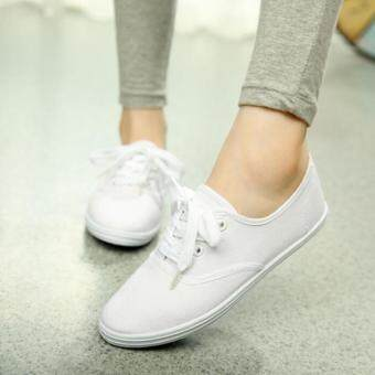 Harga TF Woman Fashion sports shoes Canvas shoe Candy color flat shoes(White) - intl