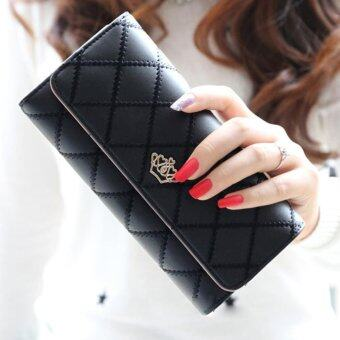 Harga Promotions Lady Women Clutch Long Purse Leather Wallet Card Holder Handbag Bags Black - intl