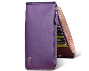Harga Pabin 2016 New Collection Real Leather Phone Wallet Case ZipperCredit Card Holder + Free Key Chain Valentine's Day Gift for Her Purple - Intl