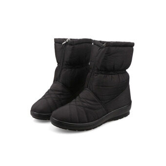 Harga High Quality Women's Snow Boots Waterproof Winter Warm Plush Shoes Woman Big Size (Black) - intl