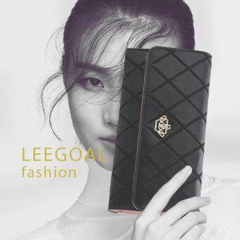 Harga leegoal New Style Women Lady Leather Clutch Wallet Long PU Card Holder Purse Long Wallet(Black)