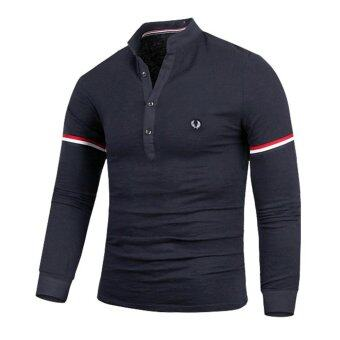 Harga Men's new fashion slim Long-Sleeved bottoming shirt with Fred Perry logo (dark blue) - intl