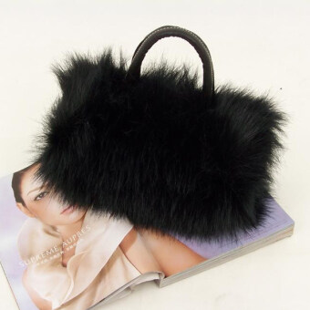 Harga YBC Lady Fashion PU Leather Faux Fur Handbag Shoulder Bag Black - intl