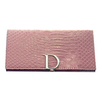Harga Lady Leather Wallet crocodile patternt(Pink)