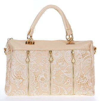 Harga Fashion Women's Lady Retro Lace Handbag PU (Faux) Leather Tote Crossbody Shoulder Bag Beige