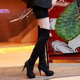 LALANG Fashion Women Over the Knee Boots Platform High Heel BootsShoes (Black)