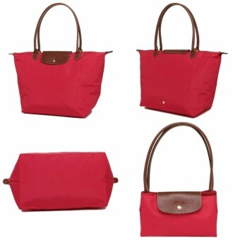 Harga [Made in France} 100% Authentic Longchamp Le Pliage Medium LongHandle 2605 - Red