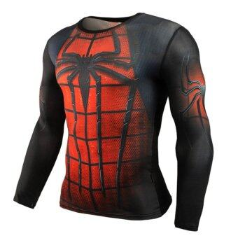 Men Compression Tight T-shirt Long Sleeves Prints Base Layer(Type9) - intl