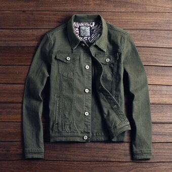 Men's jeans jacket, spring Korean men's wear, white slim men's denim jacket (green) - intl