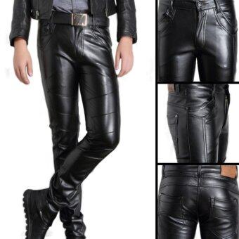 Men's Korea Style Slim PU Leather Casual Pants Black - intl