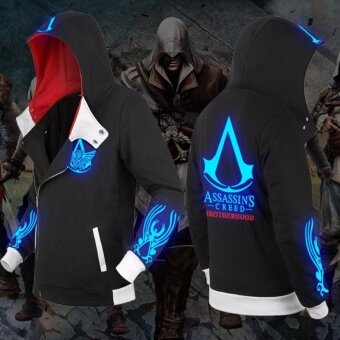 New Autumn Winter Fashion Assassin Creed Luminous Hoodie ZipperSweatshirt Cool Hoodies Unisex Cosplay Costume Jacket Coat