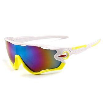 Outdoor sport sunglasses Men&Women colorful lenses Fashionsunglasses (White Green) - intl