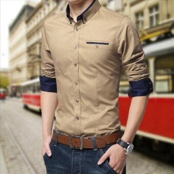 Plus Size Men Casual Formal Business Long Sleeve Shirt Khaki - intl