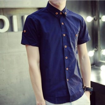 Qizhef Man han edition pure color elastic repair shirt Navy blue -intl