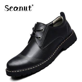 Seanut Men's Genuine Leather Low to help casual shoes Formal shoes(Black)