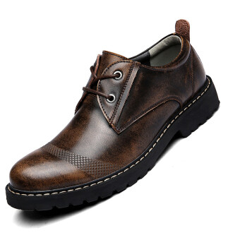 Seanut Men's Genuine Leather Low to help casual shoes Formal shoes(Dark Brown)