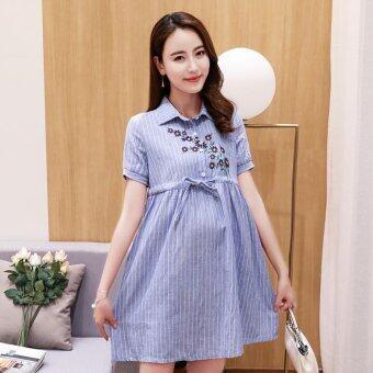 Small Wow Maternity Fashion Turn-down Collar Print Cotton AboveKnee Dress Blue - intl