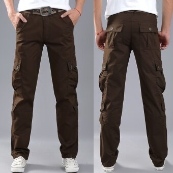 Spring and Summer Men's Casual Pants Multi-pocket Overalls TrousersTrousers Sports Trousers Overalls Men Trousers Straight Slim(Brown)- intl