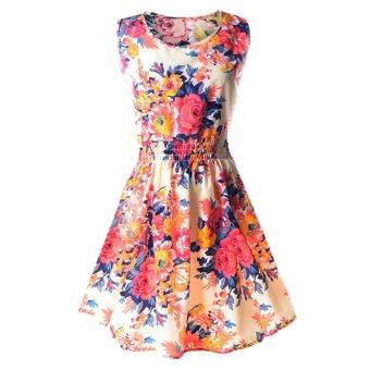 Summer Lady Big Size Print Mini Shivering Sleeveless ChiffonSundress (S) - intl