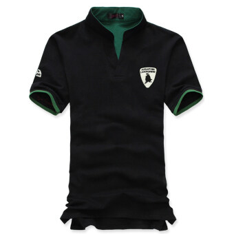 The new Men's fashion slim Short-Sleeved POLO shirt withLamborghini printed(black) -intl