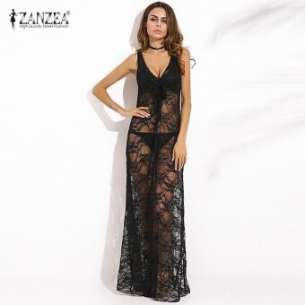 Harga Vestido 2017 ZANZEA Women V Neck Lace Floral Sheer Party Club MaxiLong Dress Summer Sleeveless See-through Casual Sundress (Black) -intl