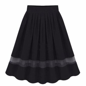 Harga Women Skirts Silk Pleated Skirts Fabric Splicing Dress(Black) -intl