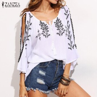 Harga ZANZEA Women Summer V-neck Embroidery Off Shoulder Tassel 3/4 Sleeve Loose Casual Party Blouse Shirt Tops Blusas - intl
