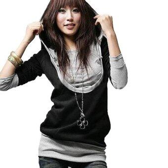Zanzea Womens Casual Long Sleeve Hooded Top Sweatshirt Blouse Black-Intl