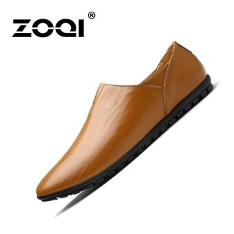 Harga ZOQI Men's Fashion Low Cut Shoes Formal Shoes (Brown) - intl
