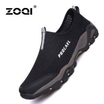Harga ZOQI Men's Fashion Sports Shoes Outdoor Hiking Shoes(Black) - intl