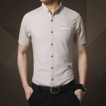 Harga ZOQI Men's Fashion Summer Casual Shirts(Beige) - intl
