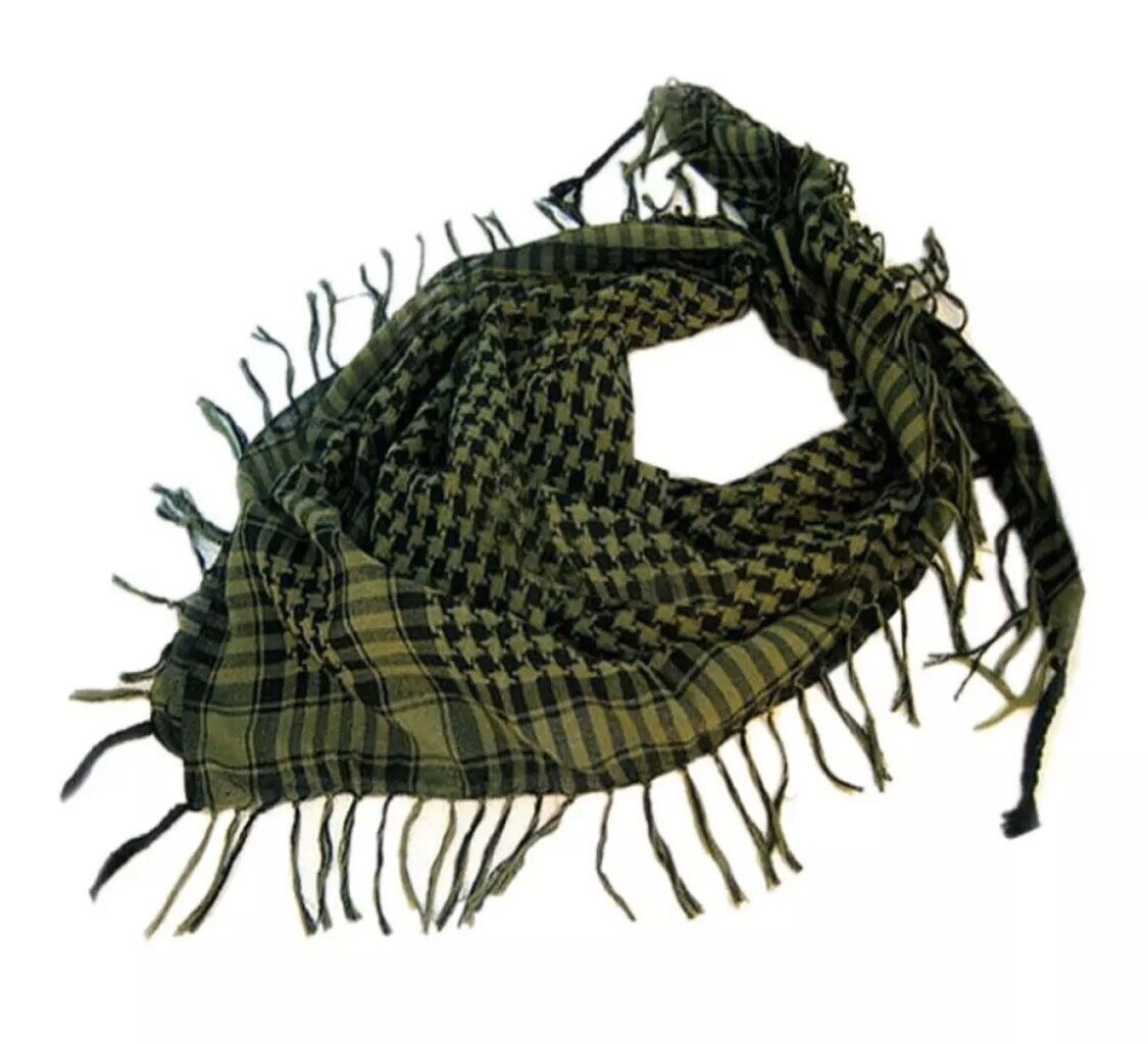 ผ้าพันคอผู้ชาย ผ้าชีมัค ผ้าโพกหัวผ้าคลุมเดินป่า กันแดดกันลมอบอุ่นผ้าพันคอทหาร สีขาวดำ.