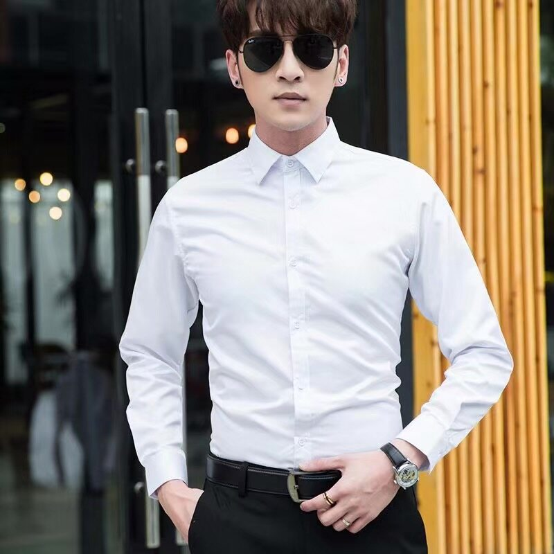 Suya Clothing 2020 New !เสื้อเชิ้ตผู้ชายแขนยาว ทรงเข้ารูป เสื้อเชิ้ตนักธุรกิจ เสื้อใส่ทำงาน เสื้อลำลอง สีพื้น (ขนาดที่ไม่ได้มาตรฐาน)1028s.
